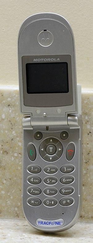Flip (form) - A Motorola flip phone, open