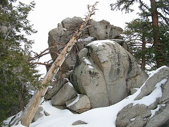 Mount San Jacinto State Park - Rock formation and trees seen from Round Valley trail in winter