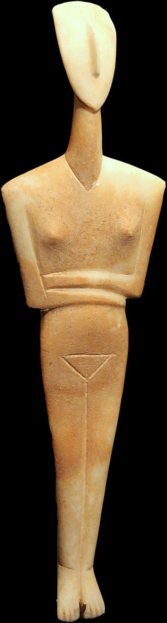 Amorgos - Dokathismata figurine, Early Cycladic II, Syros phase (2800–2300 BC). Goulandris Museum of Cycladic Art