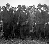 Benito Mussolini visiting Alfa Romeo factories.