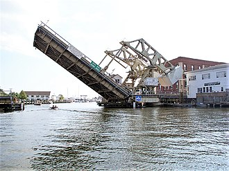 Mystic, Connecticut - Mystic River Bascule Bridge being raised