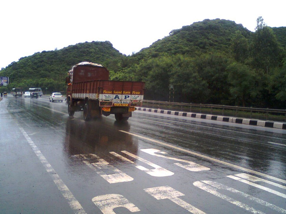 NH5 on a rainy day at Zoo Park in Visakhapatnam