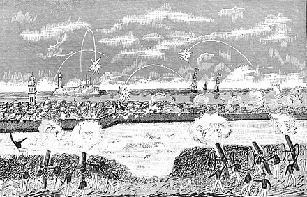American military forces bombard Veracruz in 1847, during the siege of the city. NMW1946 D097 Bombardment of Vera Cruz March 24, 1847.jpg