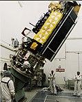 NOAA-L satellite tilted in Vandenberg AFB clean room.jpg