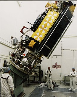 NOAA-L satellite tilted in Vandenberg AFB clean room.jpg