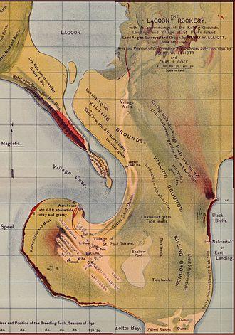 Saint Paul Island (Alaska) - Map showing the village of Saint Paul and environs, circa 1890