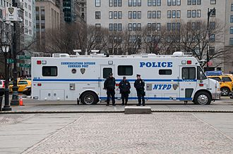 Police vehicles in the United States and Canada - A Communications Division Command Post vehicle in service with the New York City Police Department.