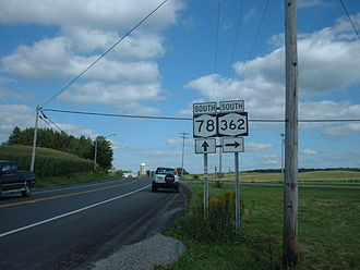 New York State Route 78 - NY 78 southbound at the junction with the northern terminus of NY 362 in Wethersfield