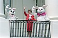 Nancy Reagan and Easter Bunnies wave from the State Floor Balcony during the White House Easter Egg Roll on the South Lawn.jpg