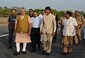 Narendra Modi being welcomed by the Chief Minister of Andhra Pradesh, Shri N. Chandrababu Naidu on his arrival at Sriharikota, in Andhra Pradesh. The Minister of State for Science and Technology (Independent Charge).jpg