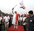 Narendra Modi flagging off Run for Unity, at the Rajpath on the occasion of Rashtriya Ekta Diwas Celebrations, in New Delhi. The Union Minister for Urban Development.jpg