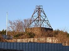 Башня из металлических лесов, окруженная кустарником и деревьями.