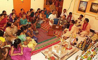 International Society for Krishna Consciousness - ISKCON's Bhajan during Navratri Golu at Coimbatore, Tamil Nadu, India