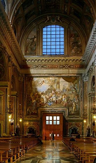 Gesù Nuovo - Entry, with Solimena's fresco The Expulsion of Heliodorus