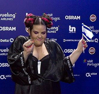 Netta Barzilai - Barzilai at a press conference after qualifying for the final of the 2018 Eurovision Song Contest