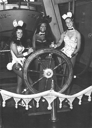Playboy Bunny - New York Playboy Club Bunnies, Waren Smith, Tiki Owens, and Liz James, aboard USS Wainwright c1971