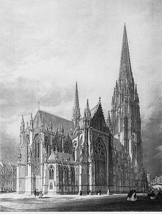 George Gilbert Scott - Nikolaikirche, Hamburg, Germany (1845–80), bombed during World War II and now a ruin