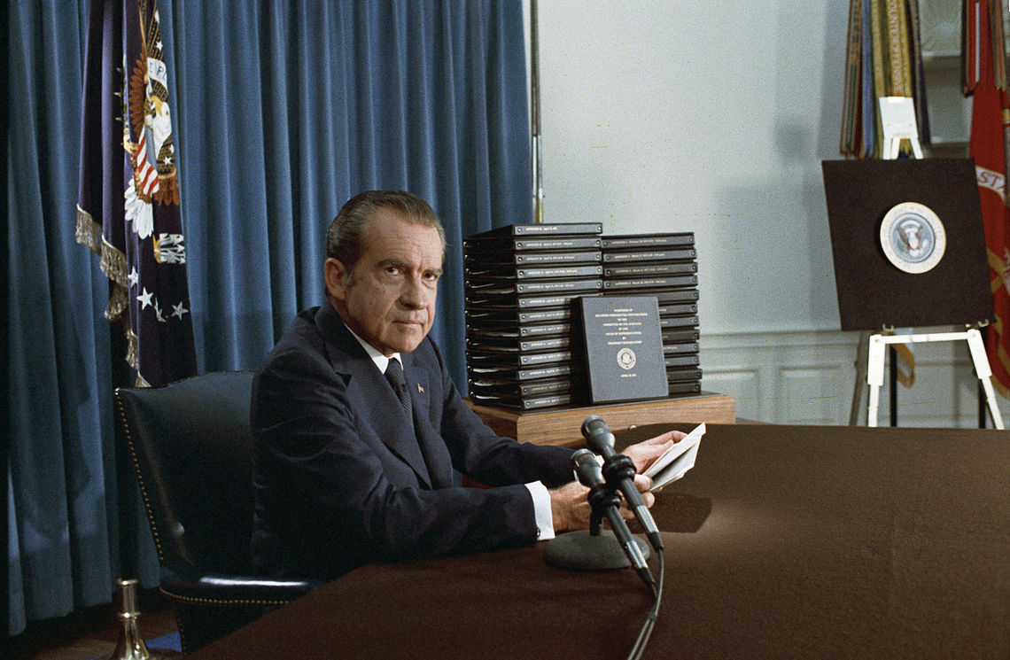 Nixon announces the release of edited transcripts of the Watergate tapes, April 29, 1974. Nixon edited transcripts.jpg