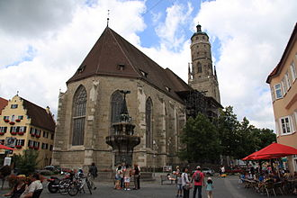 Nördlingen - Saint George's church, Nördlingen, the Daniel in background
