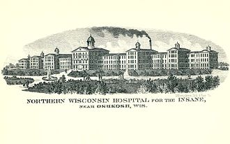 Winnebago Mental Health Institute - A drawing of the original structure from the 1885 Wisconsin Blue Book