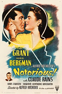 <i>Notorious</i> (1946 film) 1946 film by Alfred Hitchcock