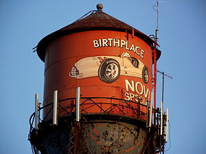 "Novi engine - Water tower in Novi, Michigan, US, noting ""Birthplace Novi Special"""