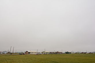 Nuiqsut, Alaska - A row of homes in the center of Nuiqsut, Alaska