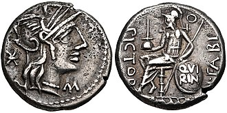 Fabia (gens) - Denarius of Numerius Fabius Pictor, 126 BC.  On the obverse is the head of Roma; on the reverse is Quintus Fabius Pictor, the praetor of 189, holding an apex and shield inscribed QVIRIN, alluding to his status of Flamen Quirinalis.