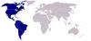 Localização dos países-membros da OEA