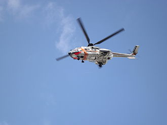 MS Estonia - Super Puma OH-HVG of the Finnish Border Guard flying.
