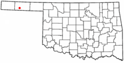 Location of Goodwell, Oklahoma
