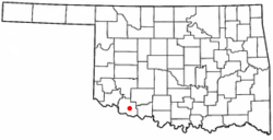 Location of Hollister, Oklahoma