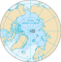 Carte de l'océan Arctique.