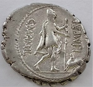 Mamilia (gens) - Denarius of Gaius Mamilius Limetanus.  The obverse (not pictured) features a head of Mercury; on the reverse, Odysseus is welcomed by his hound.