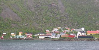 Loppa - View of the village of Øksfjord