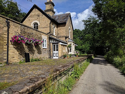 Old railway station at Linley on National Cycle Route 45, heading north (geograph 5832666)