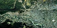 Ome city center area Aerial photograph.1989.jpg