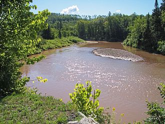 Ontonagon River - The Ontonagon River just below the confluence of its east and middle branches, as viewed from near US Highway 45