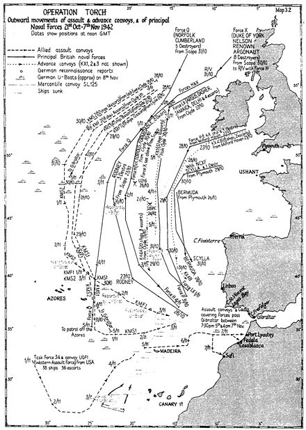 A map of Allied convoys heading from the British Isles to North Africa. Operation Torch.jpg
