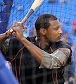 Orioles outfielder Adam Jones takes batting practice before the AL Wild Card Game. (30086443401).jpg