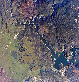 Oroville, California - Photograph of Lake Oroville in the foothills of the Sierra Nevada mountains.