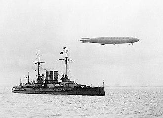 SMS Ostfriesland - Ostfriesland in 1915 with a zeppelin overhead