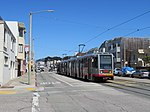 Outbound train at Taraval and 42nd Avenue, June 2018.JPG