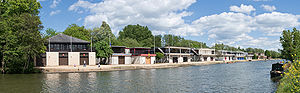 Oxford University Boat Club - Image: Oxford University College Boat Houses Crop, England May 2010