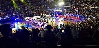 2018 PBA Commissioner's Cup Finals - The players of San Miguel and Barangay Ginebra during the player introductions before the start of Game 1.