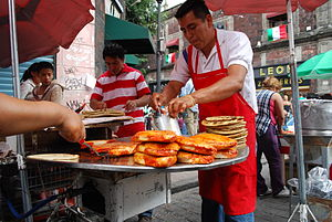 Pambazo - Pambazos being prepared in Mexico City