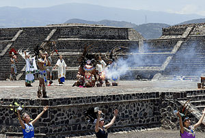 Sport in Mexico - The Pan American Games torch being lit in Teotihuacan.