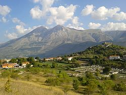 The town with the Monte Velino in the background.