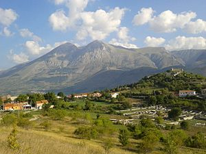 Massa d'Albe - The town with the Monte Velino in the background.