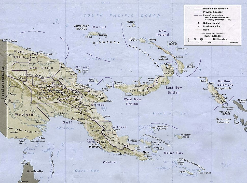 Bismarck Sea is located northeast of the island of New Guinea
